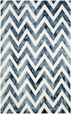 Crux Hand-Tufted Ivory & Navy Area Rug Rug Size: Rectangle 4' x 6'