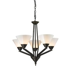 Abrielle 5-Light Shaded Chandelier Finish: Oil Rubbed Bronze