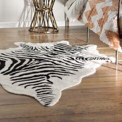 Hermosa Beach Hand-Tufted Faux Cowhide Zebra Black Area Rug