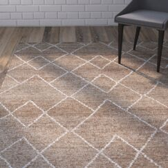 Aracely Hand Woven Brown/Ivory Area Rug Rug Size: Rectangle 9'6