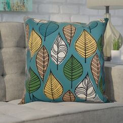 Avalos Leaves Floral Outdoor Throw Pillow Color: Teal, Size: 18