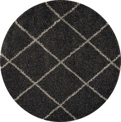 Psyche Charcoal Area Rug Rug Size: Round 4'