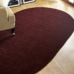 Chenille Reversible Dark Red Indoor/Outdoor Area Rug Rug Size: Oval 5' x 8'