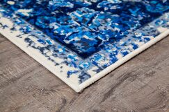 Royalwood Traditional Blue/Cream Area Rug Rug Size: Rectangle 9' x 12'