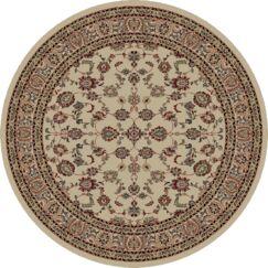 Heritage Elegant Keshan Ivory Area Rug Rug Size: Round 8'