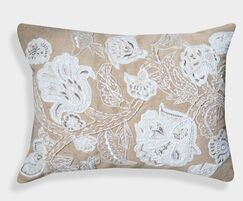 Organza Hand Embroidered Cotton Lumbar Pillow