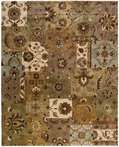 Philip Hand-Tufted Brown/Green/Beige Area Rug Rug Size: Rectangle 7'9