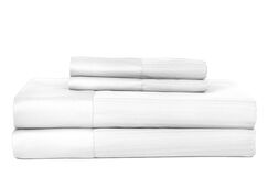 Castle Hill 500 Thread Count Egyptian Quality Cotton Pinstripe Sheet Set Size: King, Color: White