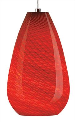 Honey 1-Light Cone Pendant Mounting Type: Monopoint, Shade Color: Red, Finish: Satin Nickel