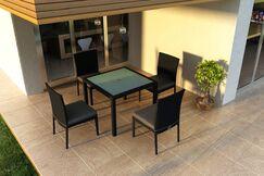 Urbana 5 Piece Sunbrella Dining Set with Cushions Color: Cast Silver