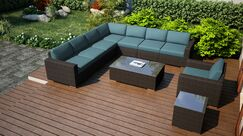 Arden 10 Piece Sectional Set with Cushions Fabric: Cast Lagoon