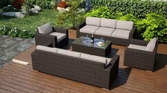 Arden 5 Piece Sofa Set with Cushions Fabric: Canvas Flax