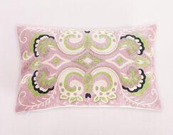Embroidered Damask Lumbar Pillow Color: Pink