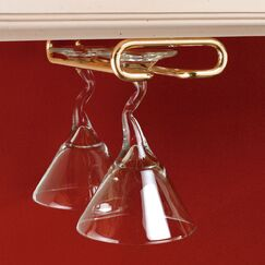 Hanging Wine Glass Rack Finish: Brass