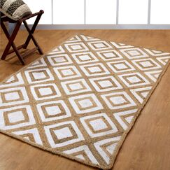 Hand-Woven White Area Rug Rug Size: 5' x 8'