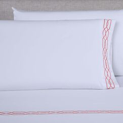 600 Thread Count Embroidered Pillowcase Color: White/Desert Rose, Size: Queen