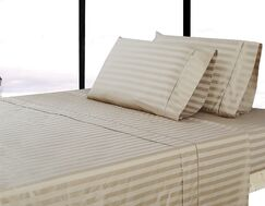 500 Thread Count 100% Cotton Striped Sheet Set Size: King, Color: Wheat