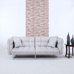 Modern Plush Tufted Linen Splitback Living Room Sleeper Sofa Upholstery: Light Gray