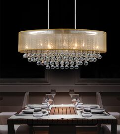 Radiant 9-Light Chandelier Crystal Color: Clear, Shade Color: White