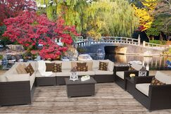 Belle 11 Piece Sectional Set with Cushions Fabric: Beige