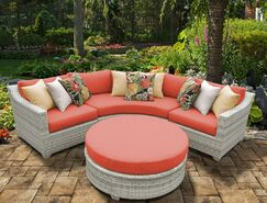 Ansonia 4 Piece Sectional Set with Cushions Color: Tangerine
