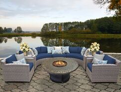 Florence 8 Piece Sectional Set with Cushions Fabric: Navy