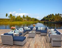 Florence 17 Piece Rattan Sectional Seating Group with Cushions Fabric: Navy