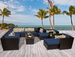 Barbados 13 Piece Rattan Sectional Set with Cushions Fabric: Navy