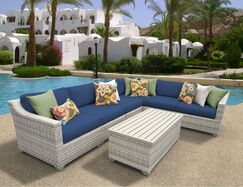 Ansonia 7 Piece Sectional Set with Cushions Color: Navy