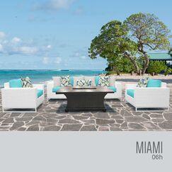 Miami 6 Piece Sofa Set with Cushions Fabric: Terracotta