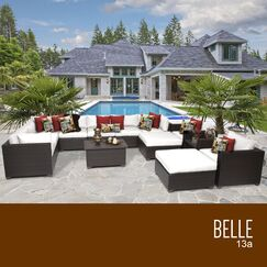 Belle 13 Piece Rattan Sectional Set with Cushions Fabric: White