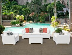 Monaco 6 Piece Sectional Set with Cushions Cushion Color (Fabric): White
