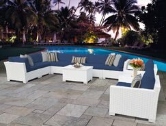 Monaco 11 Piece Sectional Set with Cushions Cushion Color (Fabric): Navy
