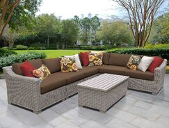 Coast 7 Piece Sectional Set with Cushions Cushion Color: Cocoa