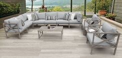 Carlisle 11 Piece Outdoor Sectional Set with Cushions Cushion Color: Gray