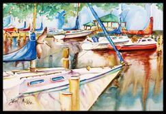 Sailboats at the Gazebo Doormat Mat Size: Rectangle 1'6