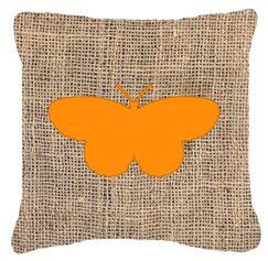 Elegant Butterfly Burlap Mildew Resistant Indoor/Outdoor Throw Pillow Size: 18
