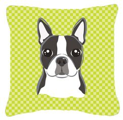 Checkered Boston Terrier Indoor/Outdoor Throw Pillow Size: 14