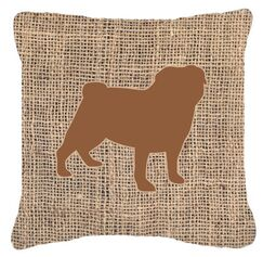 Pug Burlap Indoor/Outdoor Throw Pillow Size: 18
