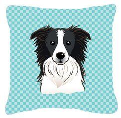 Checkerboard Border Collie Indoor/Outdoor Throw Pillow Size: 14