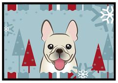 Winter Holiday French Bulldog Doormat Mat Size: 2' x 3'