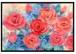 Roses Doormat Mat Size: 1'6