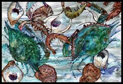 Shrimp, Crabs and Oysters in Water Doormat Mat Size: 2' x 3'
