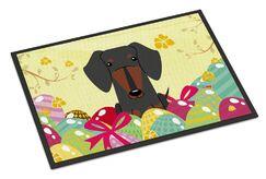 Easter Eggs Dachshund Indoor/Outdoor Doormat Color: Black/Tan