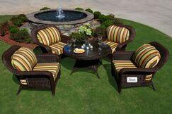 Fleischmann 5 Piece Sunbrella Conversation Set with Cushions Color: Tortoise, Fabric: Rave Brick