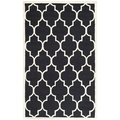Parker Lane Hand-Tufted Wool Black/Ivory Area Rug Rug Size: Rectangle 3' x 5'