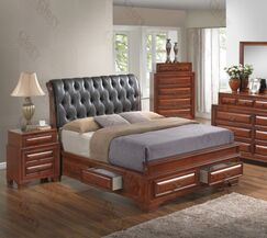 Edwardsville Upholstered Storage Platform Bed Size: King, Color: Oak