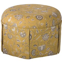 Blenheim Pouf Ottoman Color: Mustard Gold/Blue