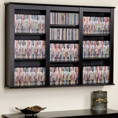 Triple Media Multimedia Wall Mounted Storage Rack Color: Black