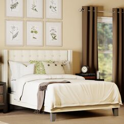 Denys Queen Upholstered Panel Bed Color: Ivory